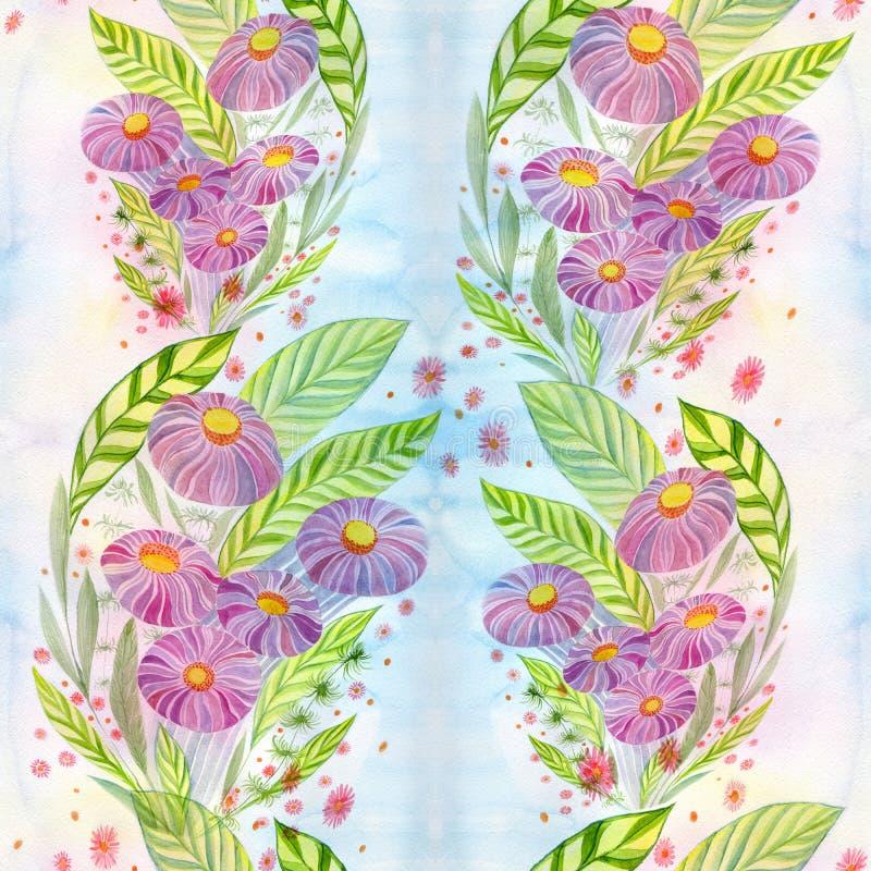 Flores Ramo con las hojas, las flores y los brotes watercolor Modelo inconsútil ilustración del vector