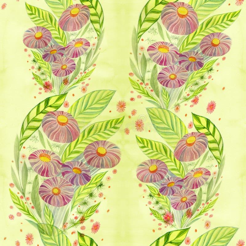 Flores Ramo con las hojas, las flores y los brotes watercolor Modelo inconsútil libre illustration