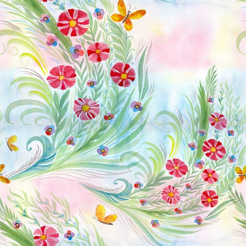 Flores Ramo con las hojas, las flores y los brotes watercolor Modelo inconsútil stock de ilustración