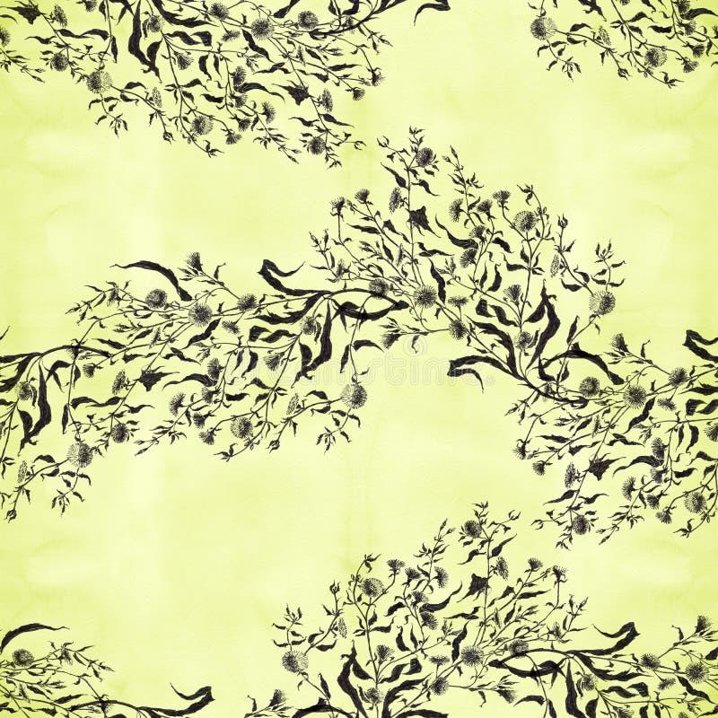 Flores Ramo con las hojas, las flores y los brotes watercolor Modelo incons?til libre illustration
