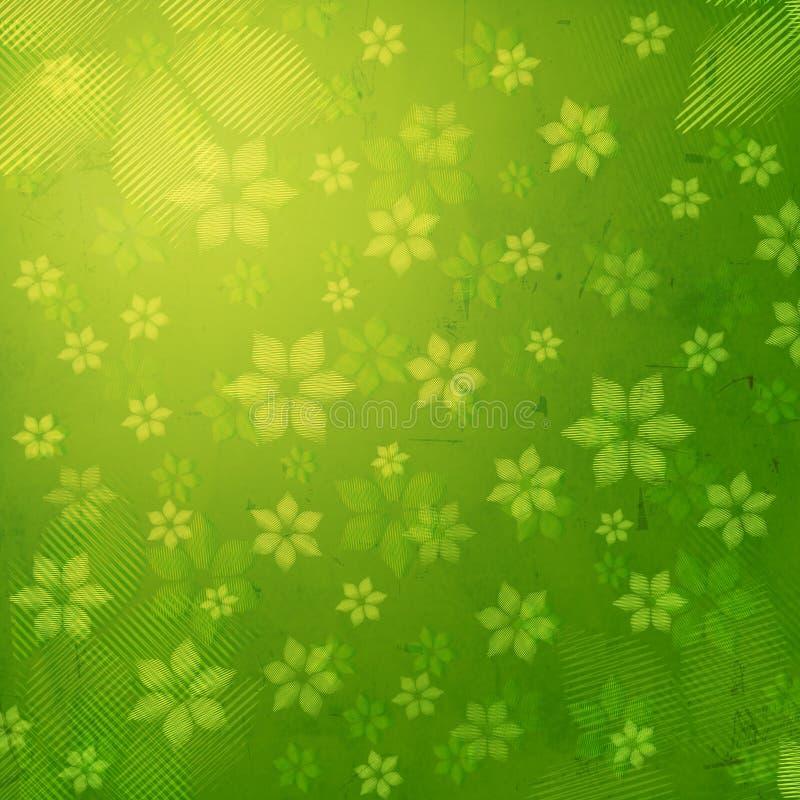 Flores rayadas en viejo fondo de papel verde ilustración del vector
