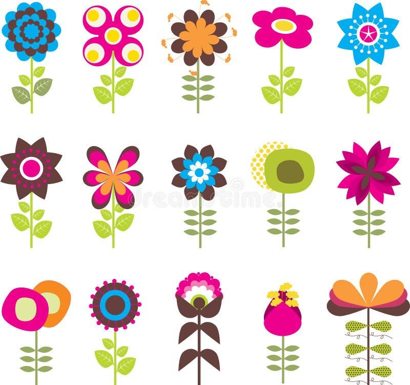 Flores retras fijadas ilustración del vector