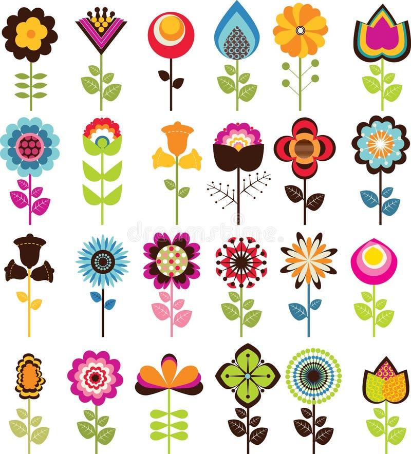 Flores retros ilustração stock
