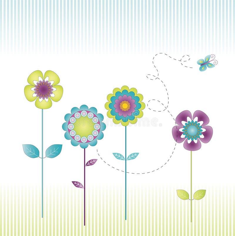 Flores retros ilustração do vetor