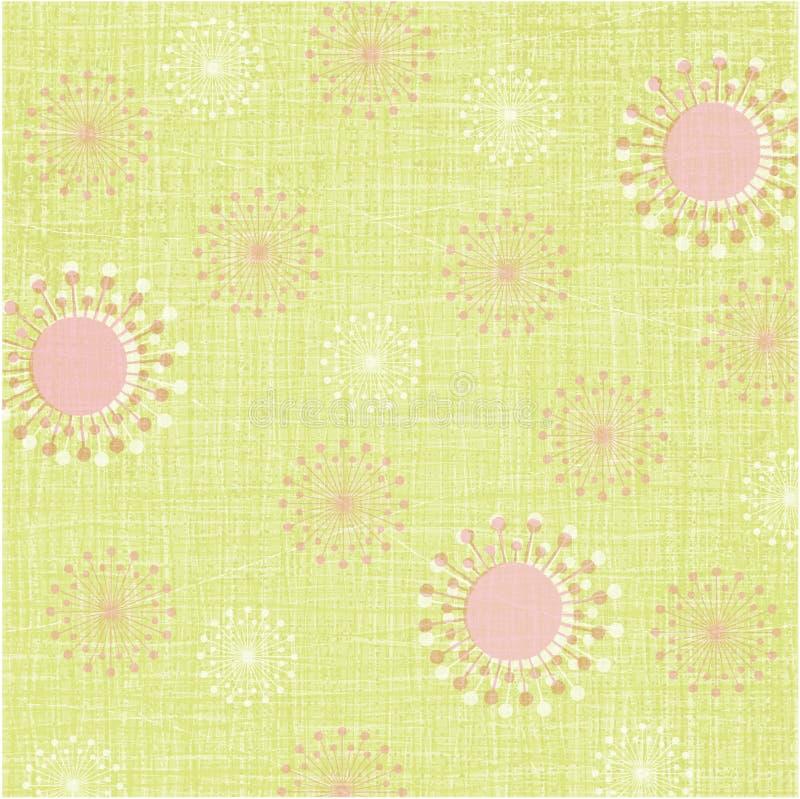 Flores retros abstratas no weave de linho verde ilustração stock