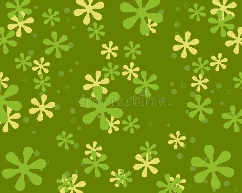 Flores retros do estilo no verde Projeto do fundo com teste padrão floral do vintage ilustração royalty free