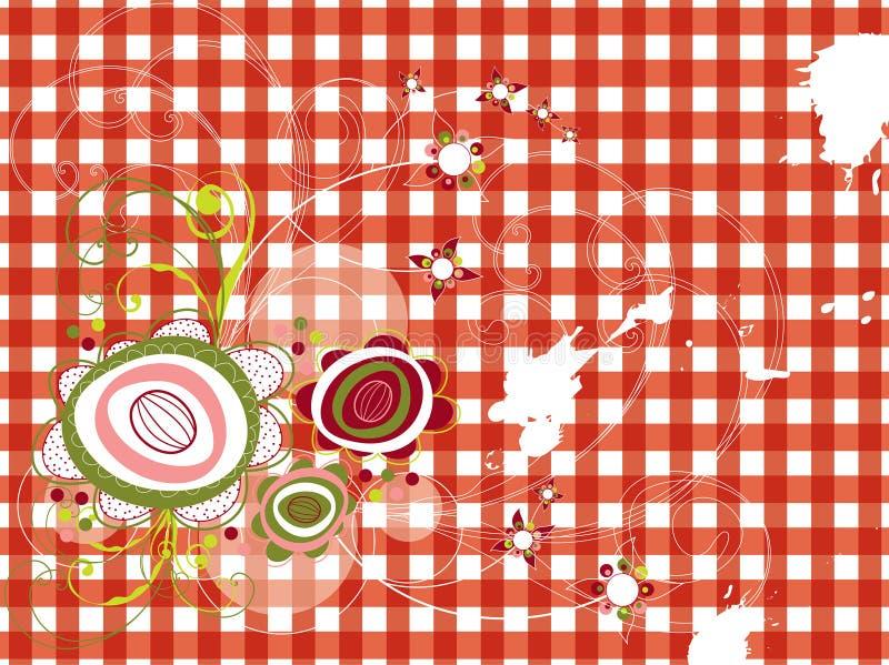 Flores retros do grunge na verificação vermelha ilustração do vetor