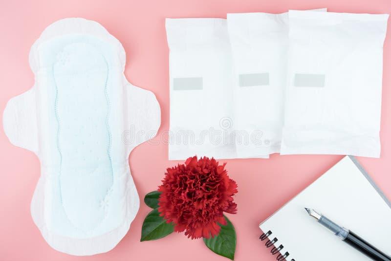 Flores rojas con la servilleta sanitaria y la pluma en el cuaderno para la nota fotos de archivo libres de regalías