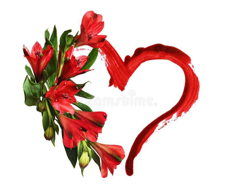 Flores rojas del alstroemeria y una pincelada de la forma del corazón fotografía de archivo