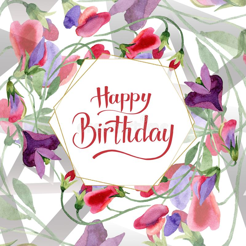 Flores rojas del guisante de olor Caligrafía del monograma de la escritura del feliz cumpleaños Fondo de la acuarela Cristal de o stock de ilustración