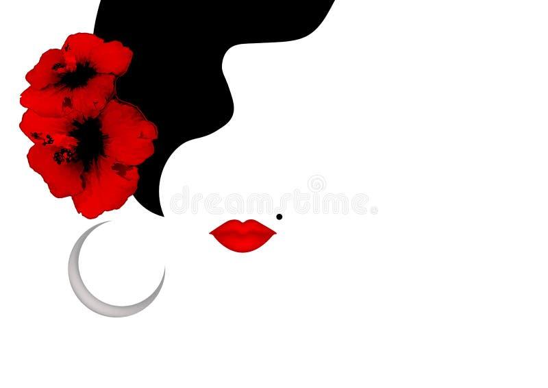 Flores rojas del hibisco de la mujer de la pizca hermosa de la silueta y labios rojos atractivos Plantilla del logotipo de la bel stock de ilustración