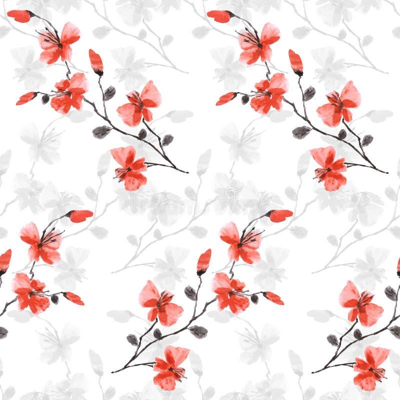 Flores rojas del modelo inconsútil pequeñas y grises salvajes en el fondo blanco Acuarela - 3 ilustración del vector