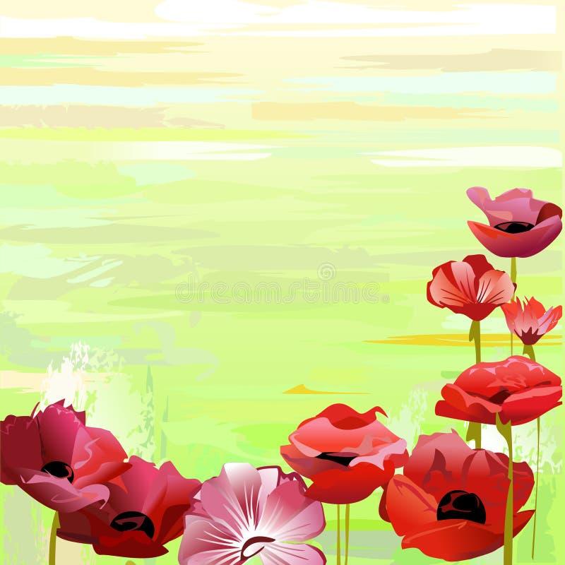 Flores rojas sobre verde stock de ilustración
