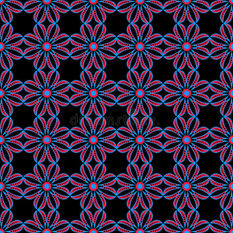 Flores rojas y azules del modelo inconsútil floral geométrico abstracto ilustración del vector
