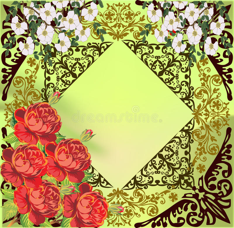 Flores rojas y blancas en la decoración verde ilustración del vector