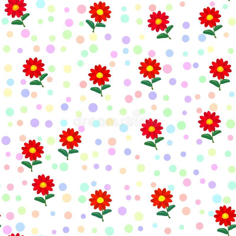 Flores Rojas Y Puntos En Colores Pastel Suaves En Modelo Inconsútil ...