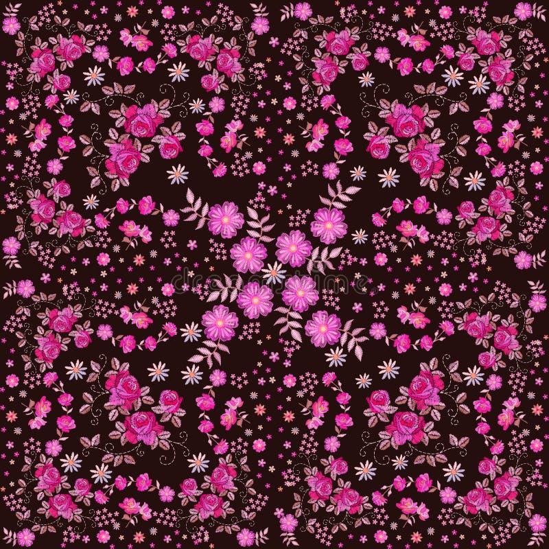 Flores rosadas del bordado El dise?o cuadrado para el pa?uelo imprime o la bufanda de cuello de seda con el ornamento floral herm ilustración del vector
