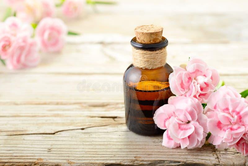 Flores rosadas del clavel y aceite esencial en el tablero de madera foto de archivo