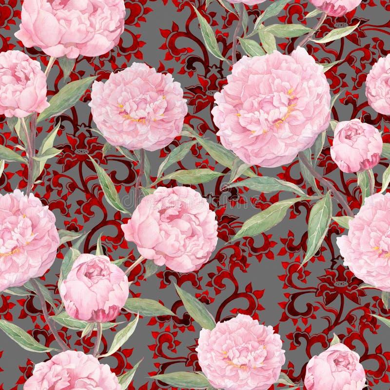 Flores rosadas del peony Estampado de flores inconsútil, decoración del este adornada watercolor stock de ilustración