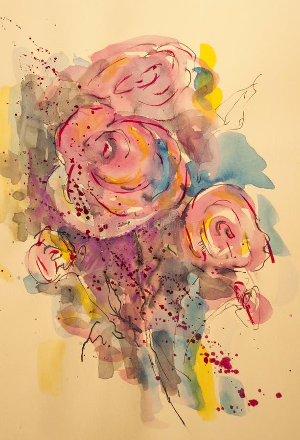 Flores rosadas hermosas del Pelargonium stock de ilustración
