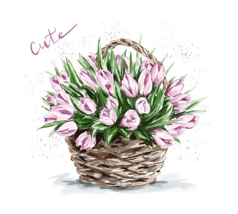 Flores rosadas hermosas exhaustas de la mano en cesta Tulipanes lindos ilustración del vector