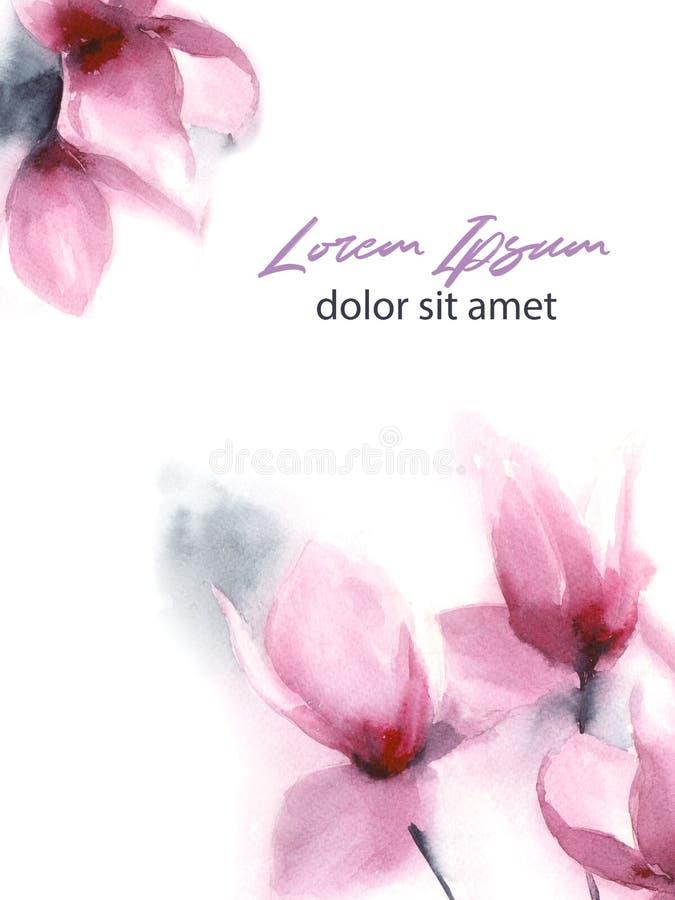 Flores rosadas a mano de la acuarela libre illustration