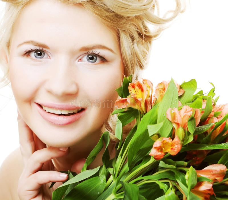 Flores rosado-amarillas brillantes del fith de la mujer fotos de archivo libres de regalías