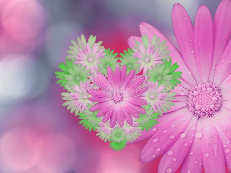 flores Rosado-verdes, en fondo borroso rosado-azul primer Composición floral brillante, tarjeta para el día de fiesta collage del stock de ilustración