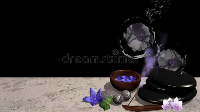 Flores roxas, bacia de flores, pedra de polimento, bolas de qigong com ilustração do vetor