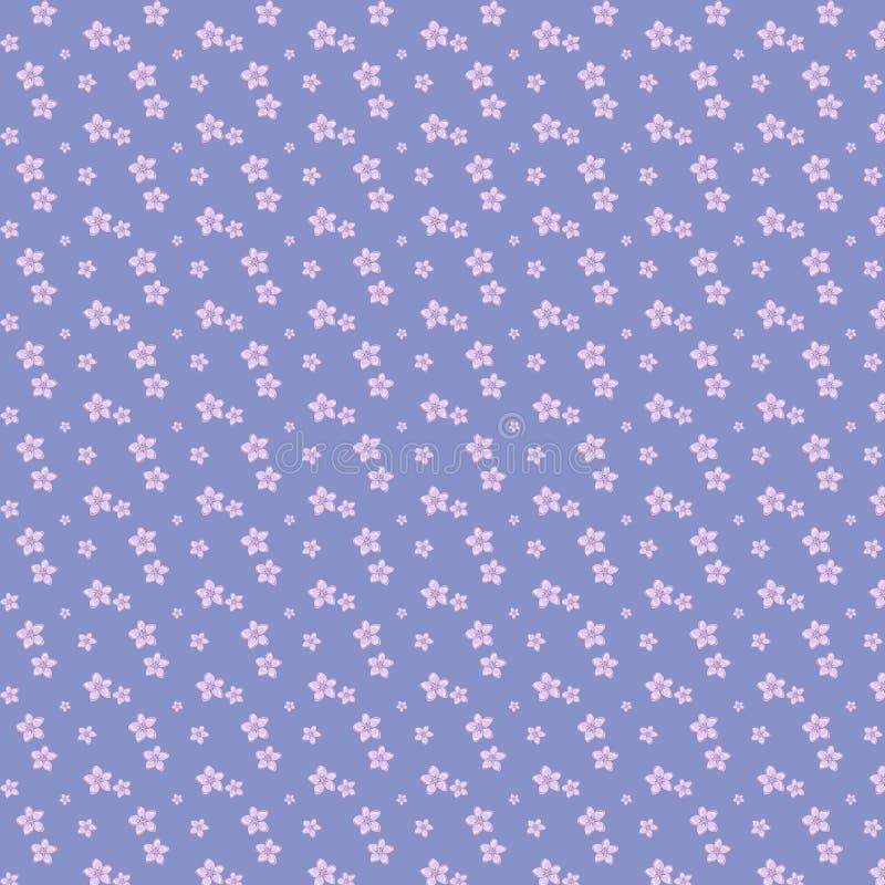 Flores roxas do teste padrão sem emenda floral lilás do vetor no contexto azul ilustração royalty free