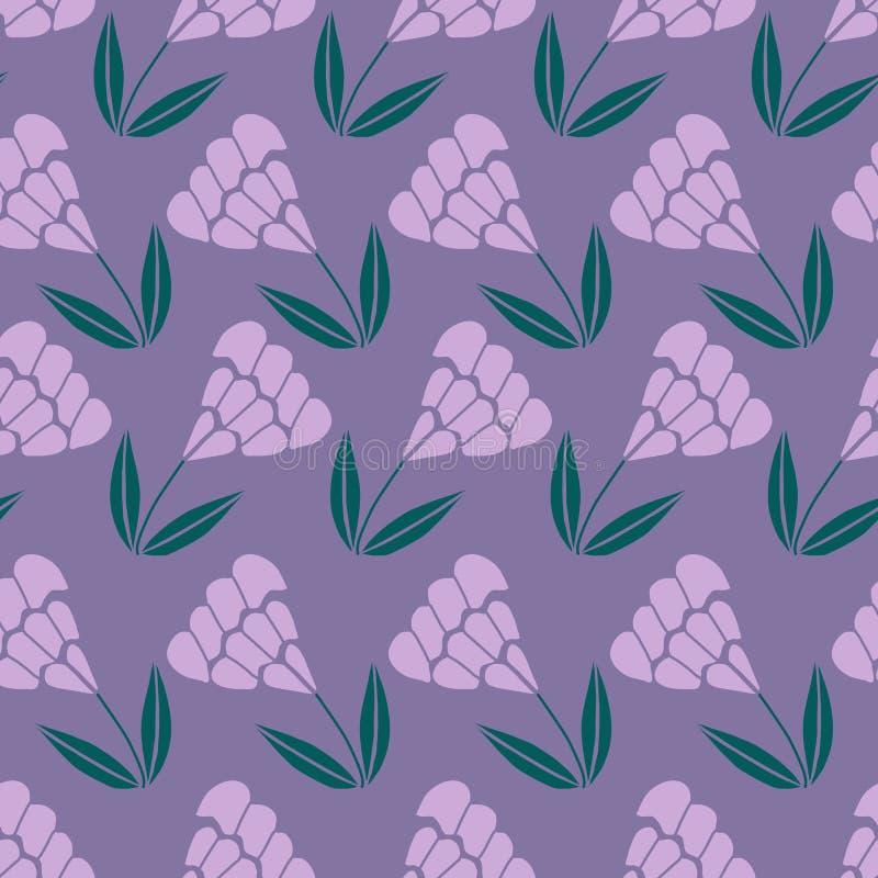 Flores roxas, em um projeto repetido do teste padrão ilustração stock