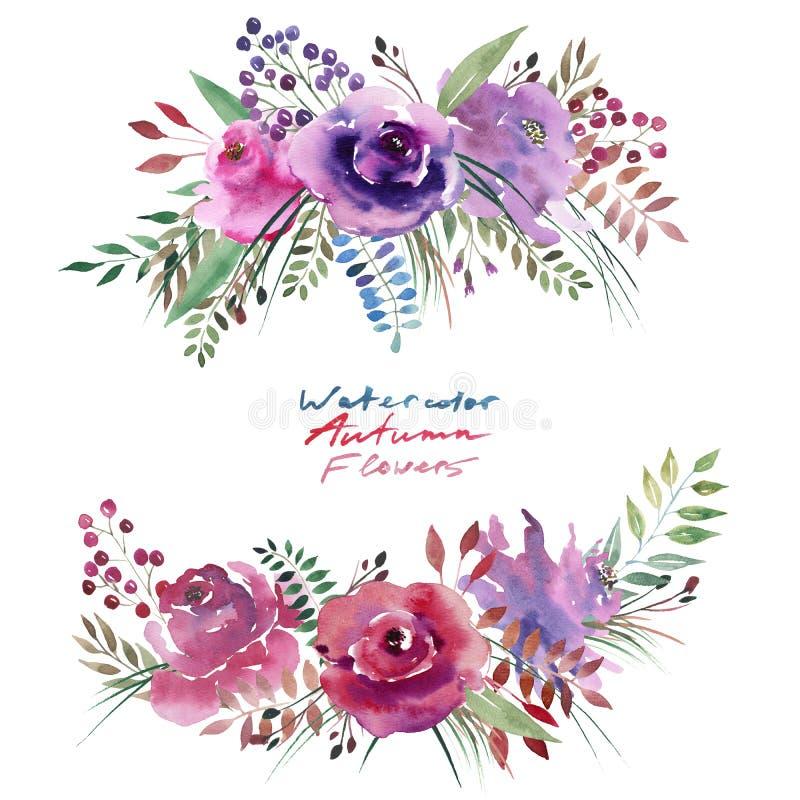 Flores roxas violetas cor-de-rosa florais ervais coloridas maravilhosas do outono brilhante bonito bonito com folhas e elemento d ilustração royalty free
