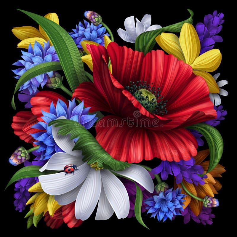 Flores rurais lindos, fundo floral ilustração royalty free