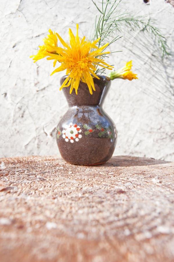 Flores salvajes amarillas en el pequeño florero marrón de la arcilla en la pared blanca grange foto de archivo