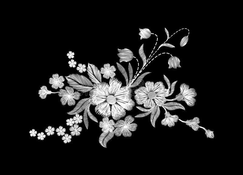 Flores salvajes blancas del bordado en un fondo negro ilustración del vector