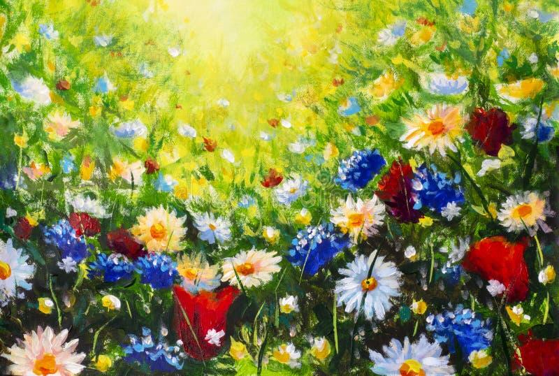 flores salvajes coloridas modernas de pintura de la flor foto de archivo libre de regalías