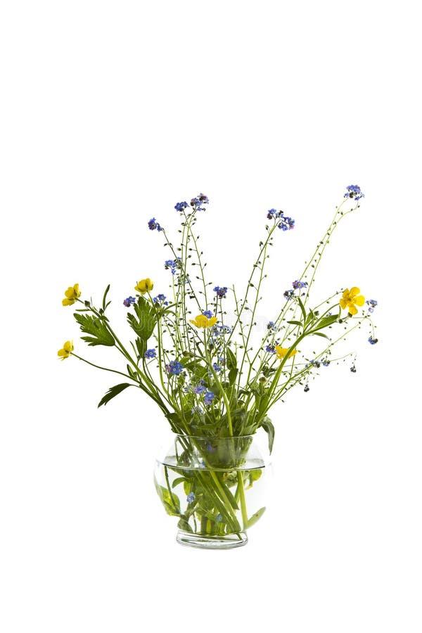 Flores salvajes en el florero de cristal imagenes de archivo