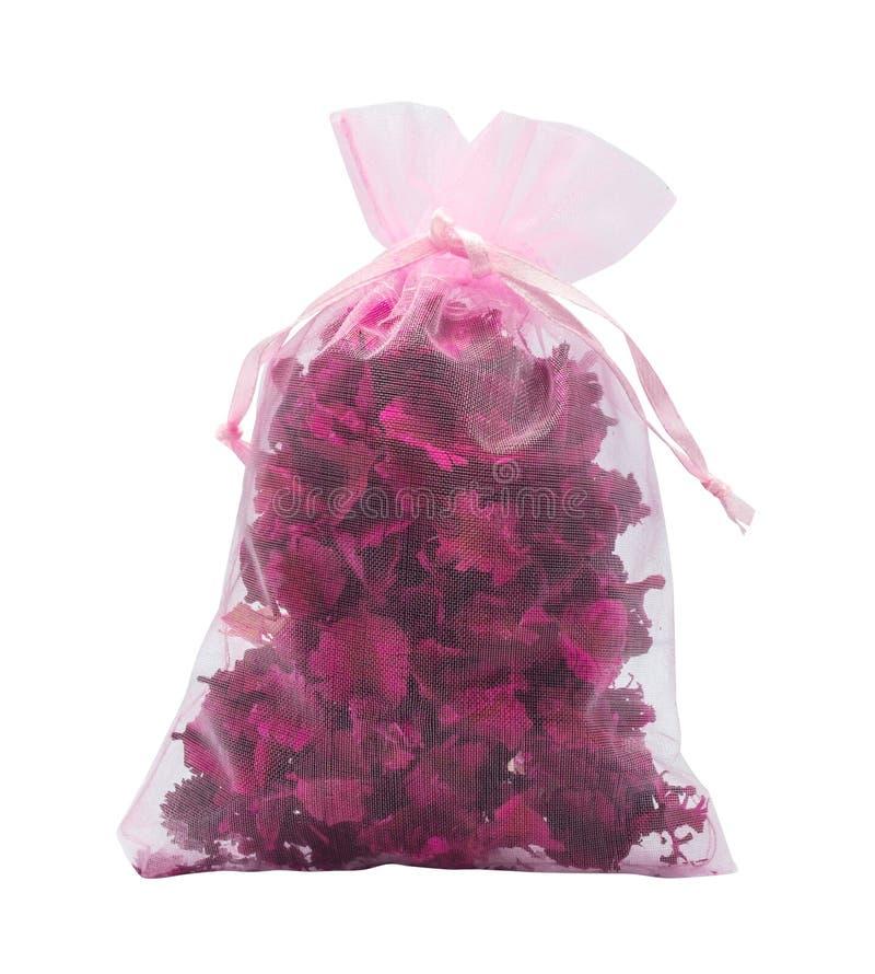 Flores secadas rosa no bage bonito pequeno foto de stock