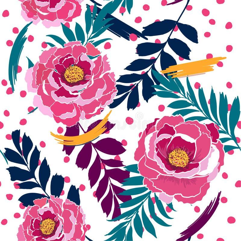 Flores selvagens de florescência do teste padrão sem emenda colorido em muitas cores ilustração stock