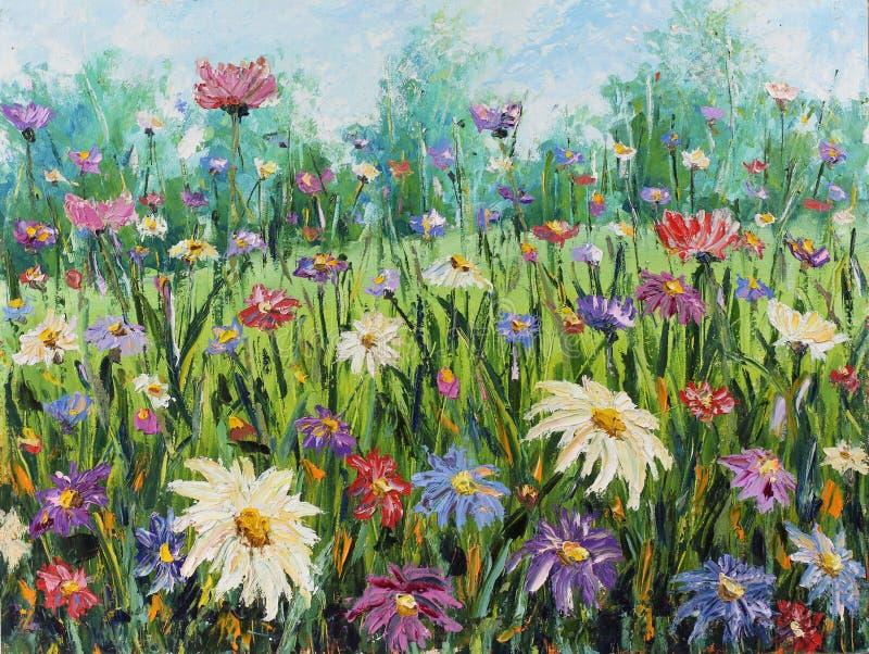 Flores selvagens do verão, pintura a óleo ilustração stock