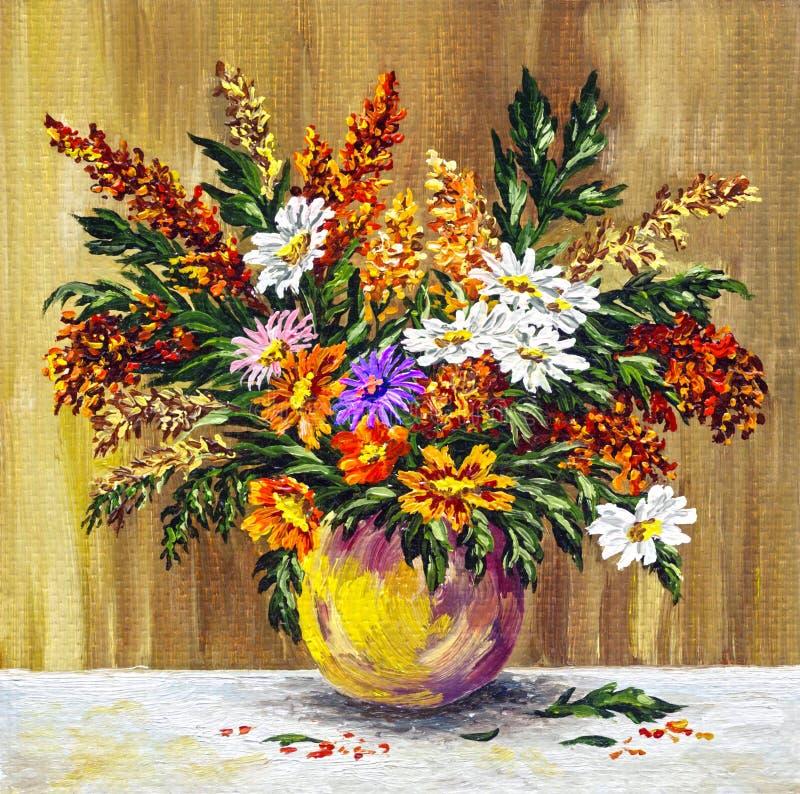 Flores selvagens em um potenciômetro de argila ilustração royalty free