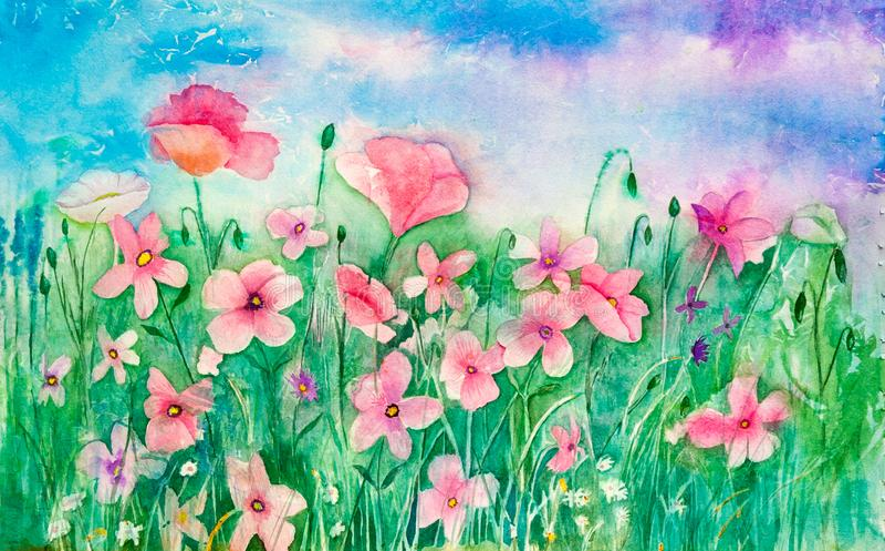 Flores selvagens pasteis cor-de-rosa em um campo - arte original ilustração royalty free