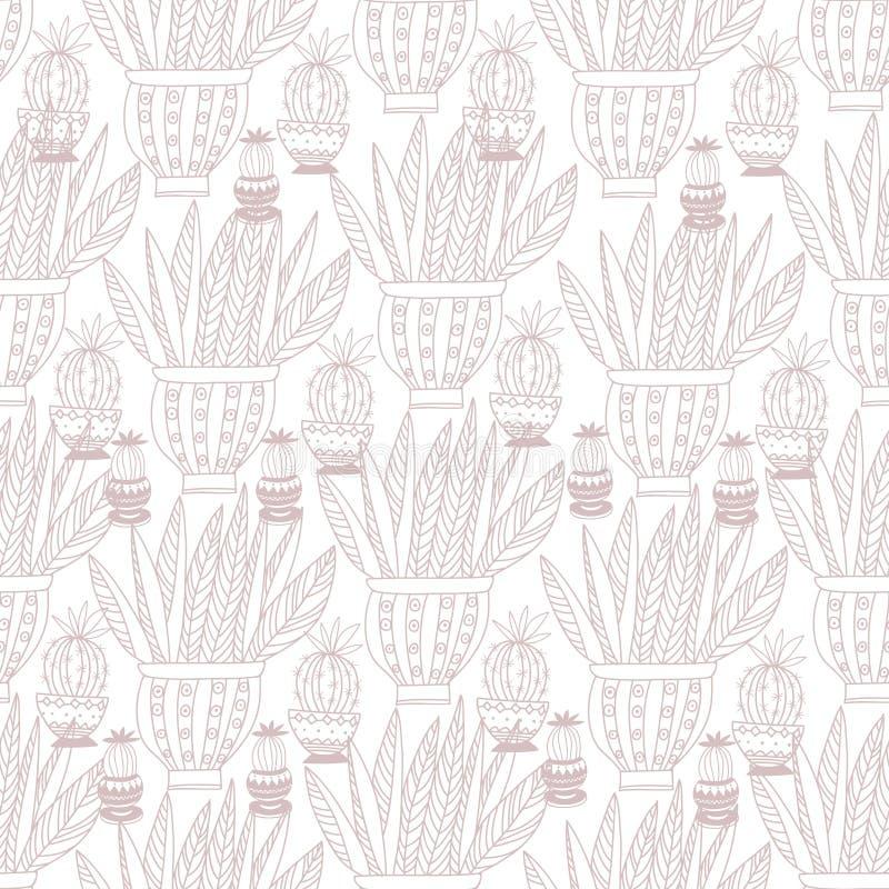 Flores sem emenda decorativas do fundo do teste padrão no vaso Backgrou ilustração royalty free