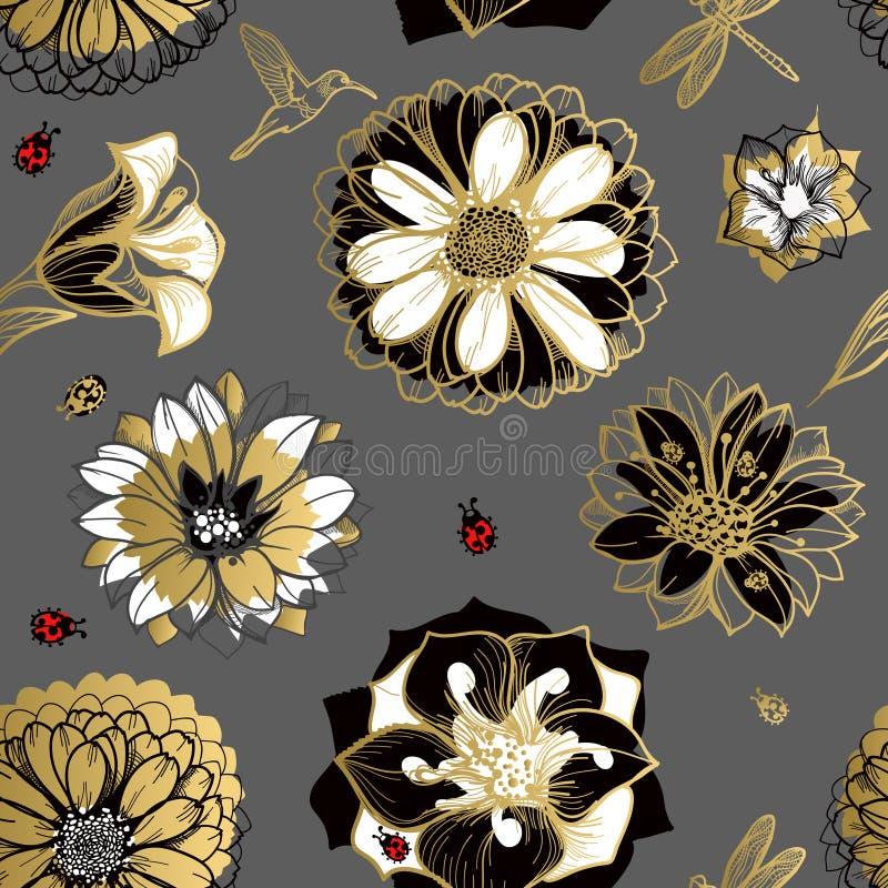 Flores sem emenda do teste padrão, borboletas, colibris ilustração royalty free