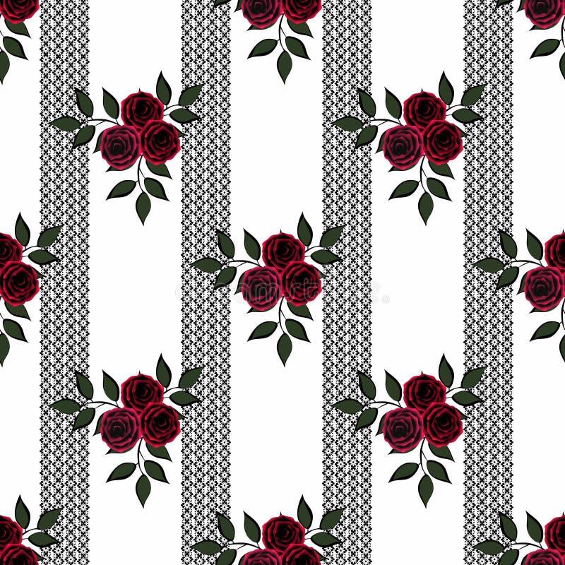 Flores sem emenda do teste padrão das rosas no fundo branco na listra preta ilustração do vetor