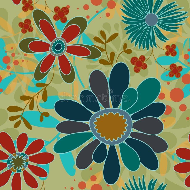 Flores sem emenda e redemoinhos do fundo ilustração stock