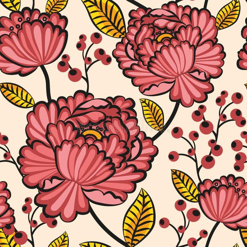 Flores sem emenda japonesas do teste padrão ilustração stock