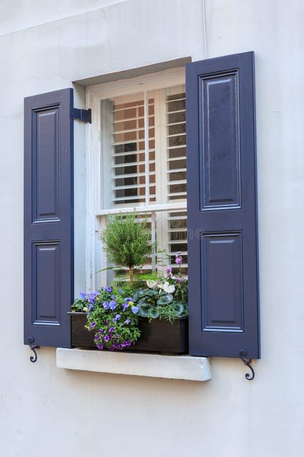 Flores Shuttered azul da janela e da caixa de janela fotos de stock royalty free