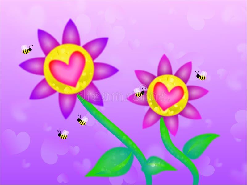 Flores soñadoras de la tarjeta del día de San Valentín libre illustration