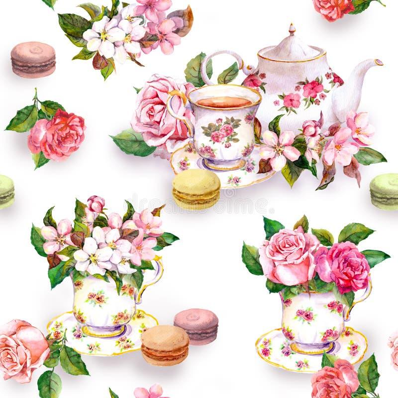 Flores, taza de té, tortas, macarrones, pote watercolor Fondo inconsútil fotos de archivo libres de regalías
